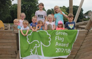 Youngsters with the Green Flag Award in Beacon Park