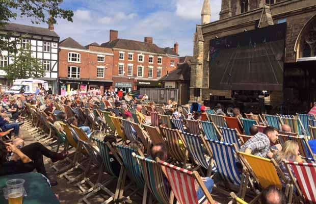 The big screen in Lichfield city centre