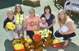 Linda Riddet-Smith, Ellie Howard (four), Katie Shuck of the centre, Elsie Winwood (11 months), Shevonne Hodson-Walker from Spark with and Danielle Goffe-Wood from Cameron Homes