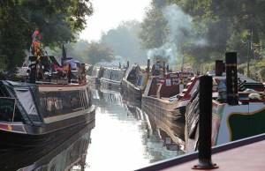 Historic narrowboats at the Huddlesford Heritage Gathering