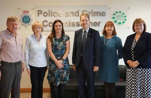 Police and Crime Commissioner Matthew Ellis (centre) with new panel members, including Tony Wilmot