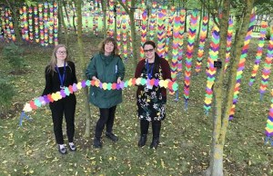 Artist Nicola Colclough with Liz Blood and Kathryn Rogerson from the National Memorial Arboretum
