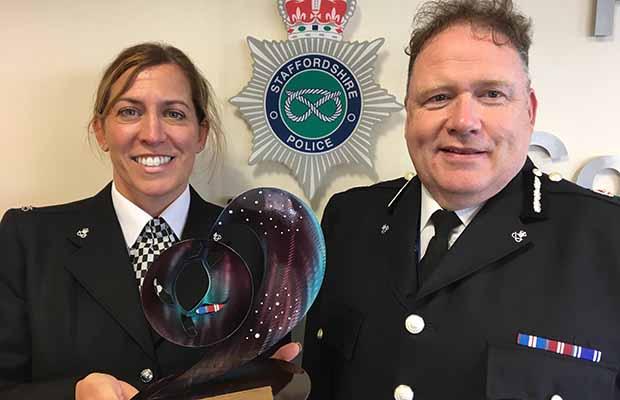 PC Nicola Flanagan with Chief Constable Gareth Morgan