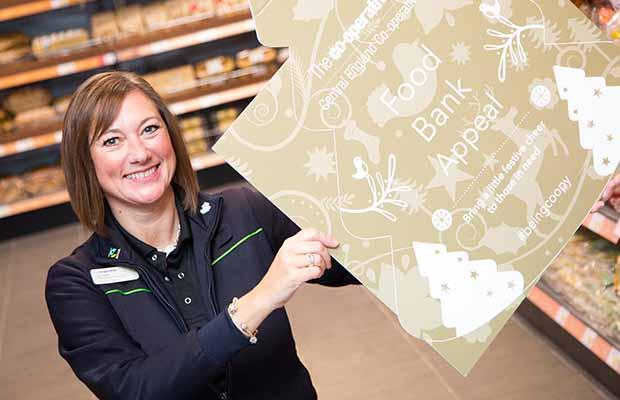 Liisa Hollis launching the Christmas Foodbank Appeal