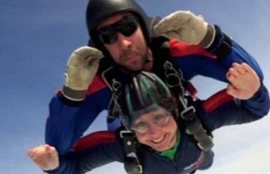 Vicky Rogers doing her fundraising skydive