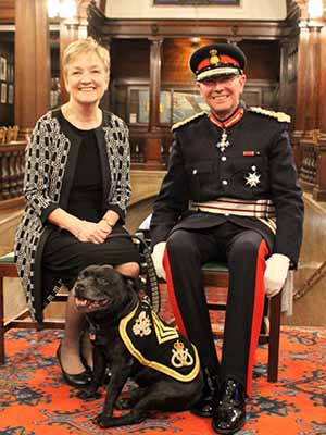 Sgt Watchman V with the Lord Lieutenant of Staffordshire, Ian Dudson CBE and his wife Jane Dudson