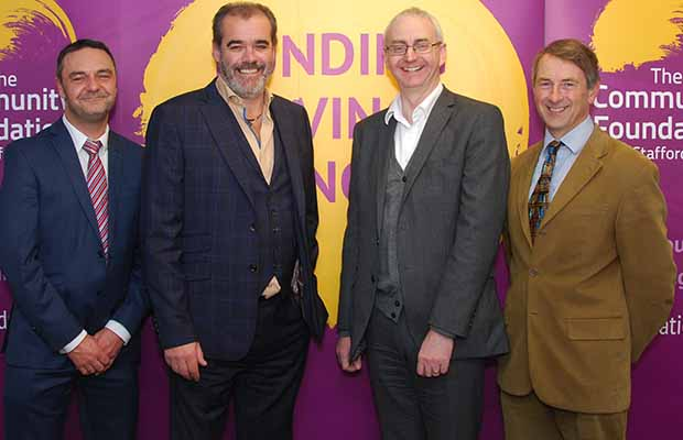 Steve Adams, CEO of The Community Foundation for Staffordshire, Simon Price, Jonathan Andrew and Roger Lewis, chairperson of the foundation