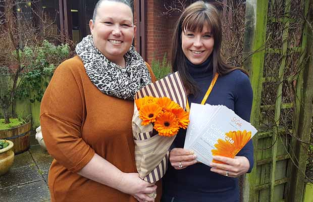 Katie O'Sullivan and Elinor Eustace, members of the St Giles Hospice fundraising team, preparing for the Celebrate Lives Lived garden initiative