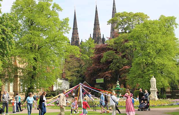Dancing round the maypole at Lichfield's Victorian May Day celebrations