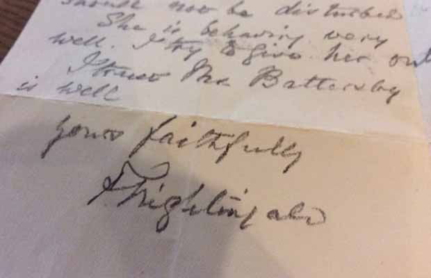 The letter signed by Florence Nightingale