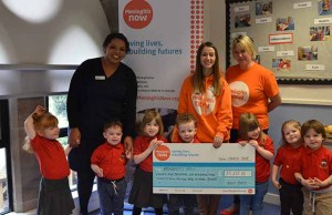 The cheque is handed over to Meningitis Now in Burntwood