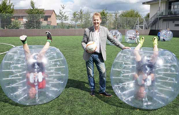 Police and Crime Commissioner Matthew Ellis at a Space zorbing event
