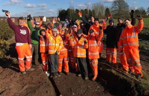 Volunteers working to create the new Fosseway Heath nature reserve