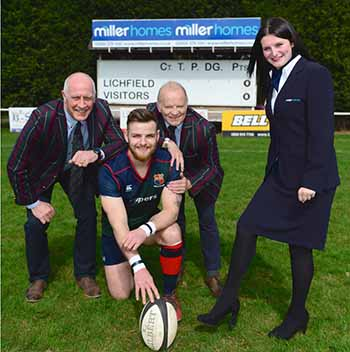 Representatives from Lichfield Rugby Club and Miller Homes Midlands celebrating the new sponsorship deal