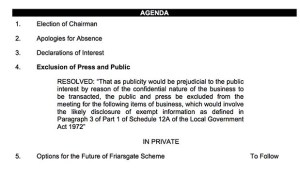 The agenda - with the section on Friarsgate to be held behind closed doors once again
