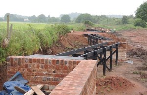 The newly built wall and boardwalk at Fosseway Heath Nature Reserve and Wetlands