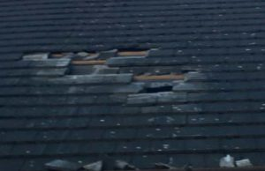 Damage to the roof of Burntwood Rugby Club