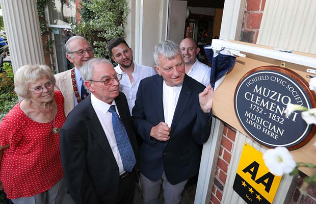 The unveiling of the blue plaque at the Hedgehog pub