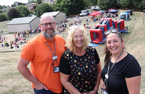 Bromford neighbourhood coaches Anton Swindells and Gemma Davis with Councillor Heather Tranter (centre) at one of the Play in the Park events