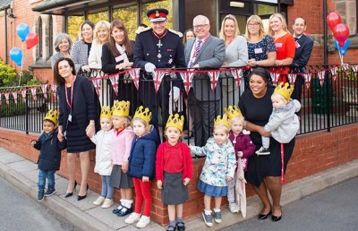 Ian Dudson, Lord Lieutenant of Staffordshire, during his visit to Busy Bees in Burntwood