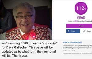 The fundraising page set up in memory of Dave Gallagher