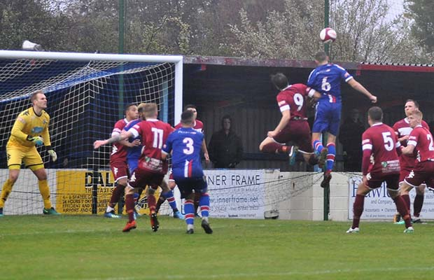 Daniel Vann headers ball which leads to scores 1st goal for Chasetown