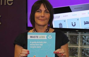Lichfield District Council employee Karen Wood launching the new recycling guide