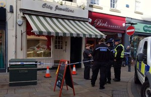 Police outside the City Jewellers store in Lichfield