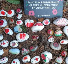 Some of the painted Remembrance Day rocks