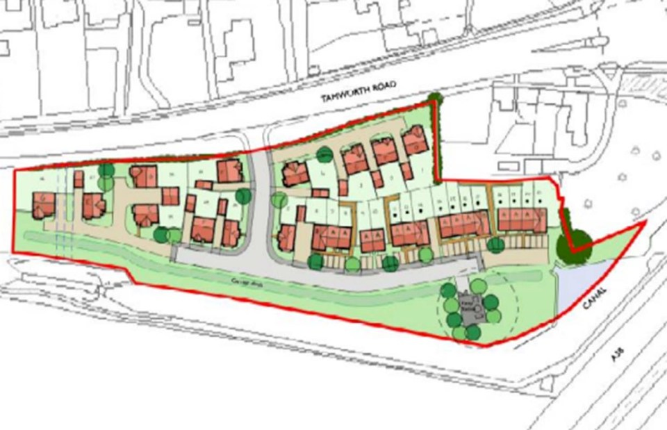 The proposed layout of the new houses on land off the Tamworth Road