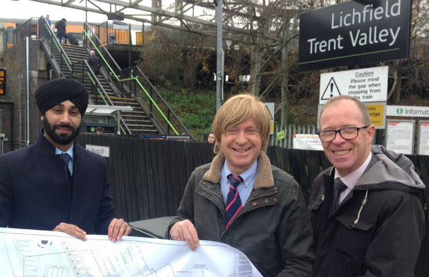 Harpreet Singh-Moore from Network Rail with Michael Fabricant MP and Richard Brooks from West Midlands Railway