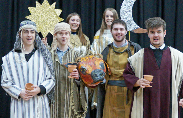 Pupils of The Friary School in rehearsal for their production of The Shepherds