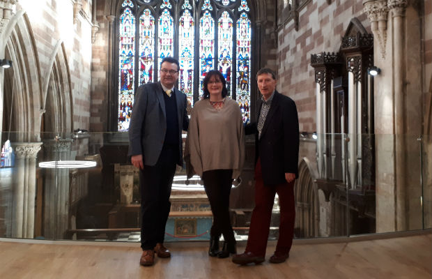 Richard Winterton, with St Mary's board of trustees vice-chair Louise Fleming and chairman Nick Sedgwick