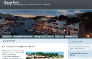 The website for the property in Menorca