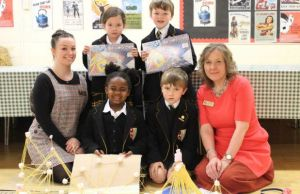 Lichfield Cathedral Junior School's Julie Peters and Laura Rack with students Mei-Li Woo, Carter Chatting, Anne- Marie Kaguramamba and Sebastian Shinebaum