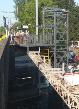 One of the new lift structures in place at Lichfield Trent Valley station