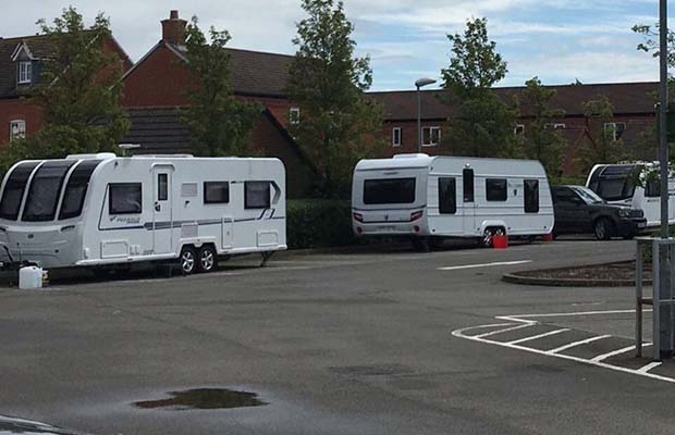Caravans on the Waitrose car park in Lichfield