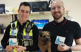 BID support officer Brendon Stewart with Nick Brickett and his dog Ruby