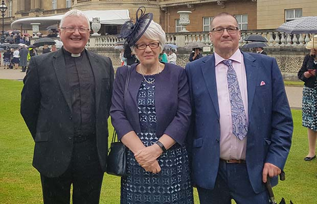 Adrian Dorber with Kath Toothill and Pete Harris at Buckingham Palace