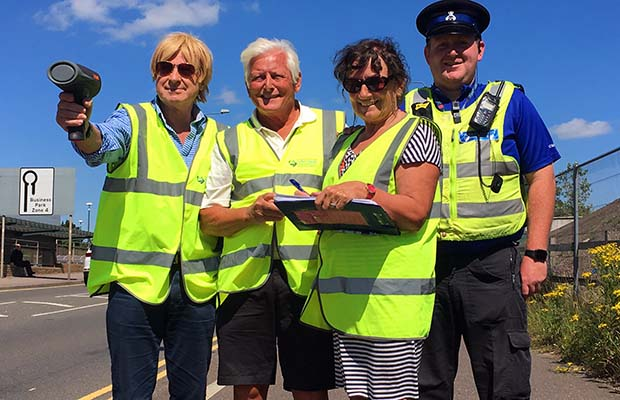 Michael Fabricant, Cllr Dave King, Cllr Janet Taylor and PCSO Tom Passmore