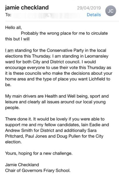 The email sent to members of The Friary School PTA by Jamie Checkland before the election
