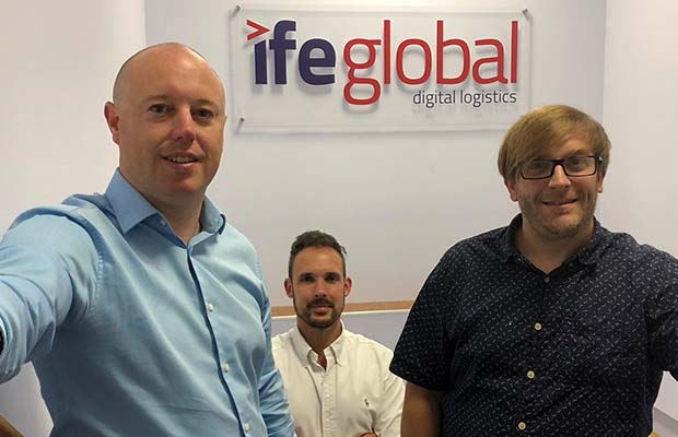 IFE Global Logistics managing director Jamie Cramer, IFE Global Logistics financial director Dieter Parish, and Cocoonfxmedia Ltd managing partner James Blackman