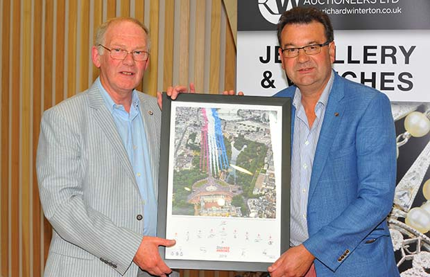 Michael Mullarkey and Richard Winterton with the limited edition signed Red Arrows artwork