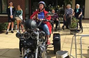 Ann aboard the Harley Davidson