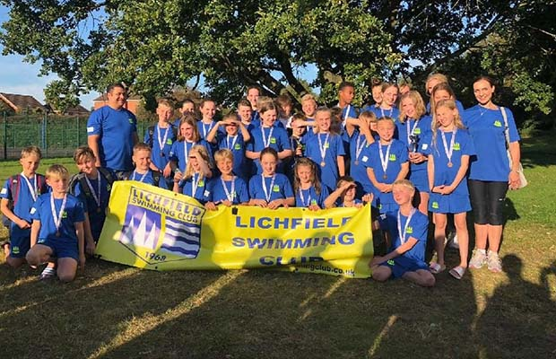 Lichfield swimmers with their medals