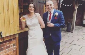Vikki and Phil Kemp on their wedding day