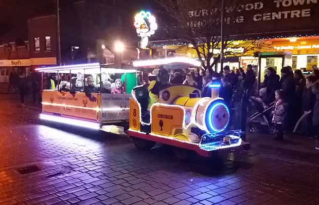 The festive road train operating during the Burntwood Christmas Festival al