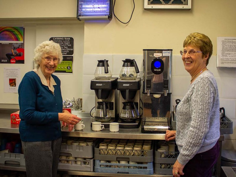 Two of the volunteers at the Lichfield Over 60s Club