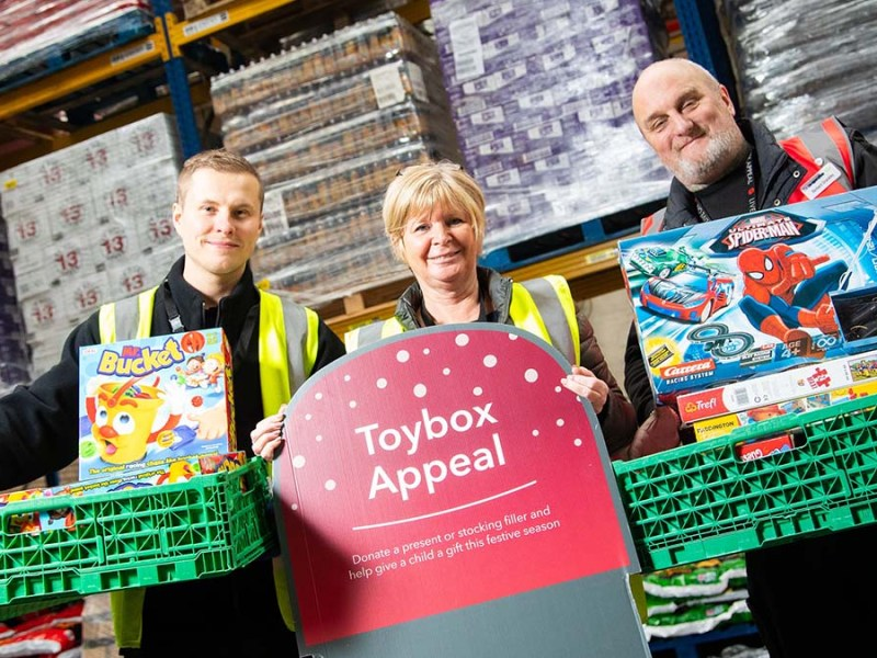 Rafal Czlonka, Julie Lamb and Richard Drackley from Central England Co-op with some of the donations