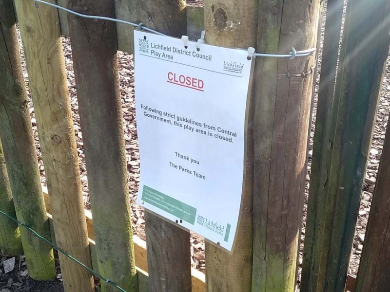 A sign on a playground in Lichfield closed due to coronavirus